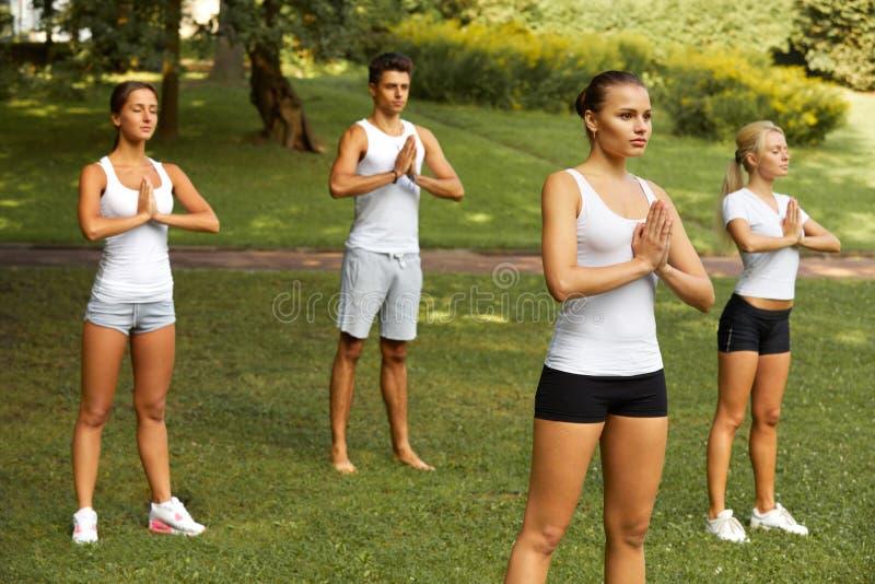 Classe de yoga Groupe de personnes méditant au parc d'été photographie stock