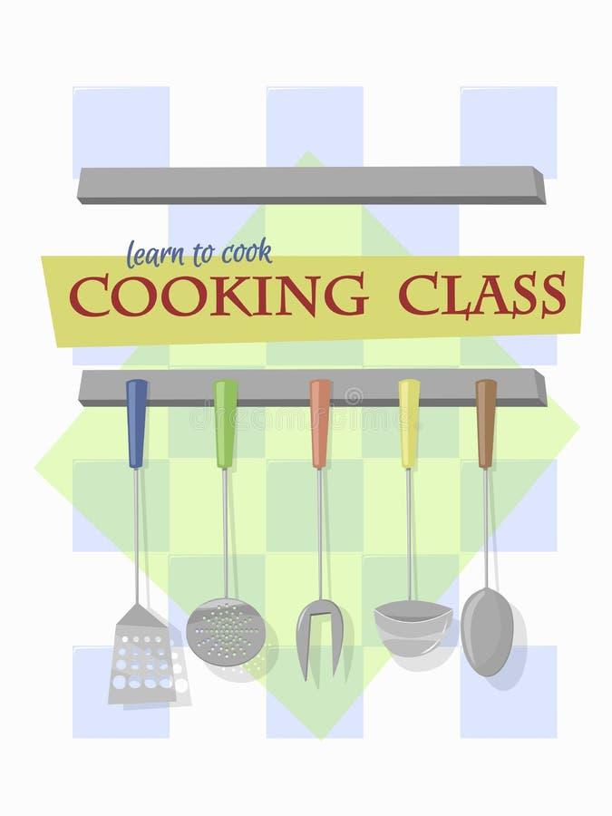 Classe di cottura Utensili della cucina che appendono sulla parete della c tradizionale royalty illustrazione gratis