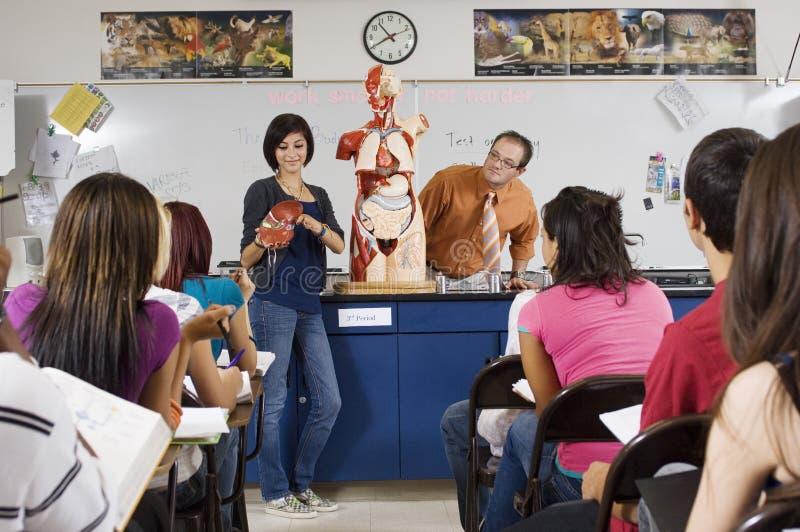 Classe di scienza di Giving Presentation In dello studente immagini stock