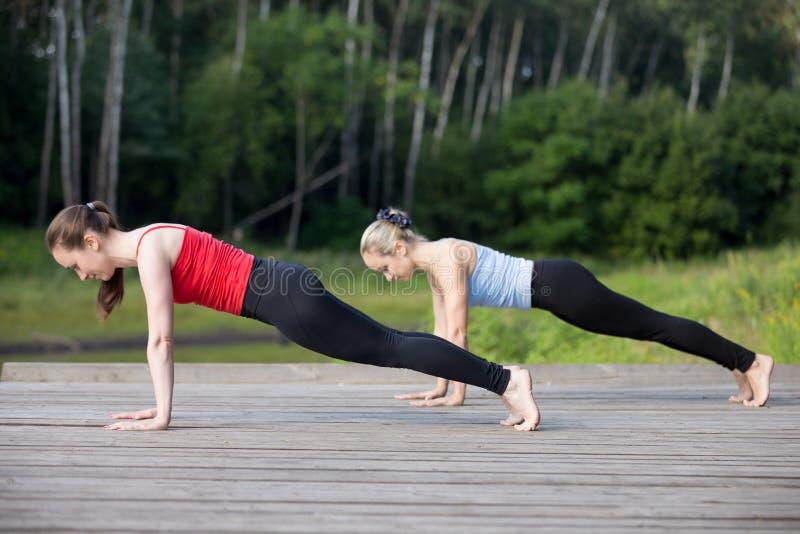 Classe di yoga: Posizione della plancia fotografia stock