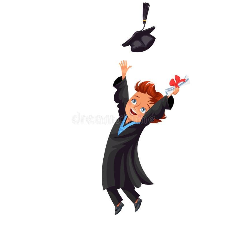 Classe do cartaz 2018 liso colorido dos congrats com o graduado alegre feliz no vestido e no tampão ilustração royalty free