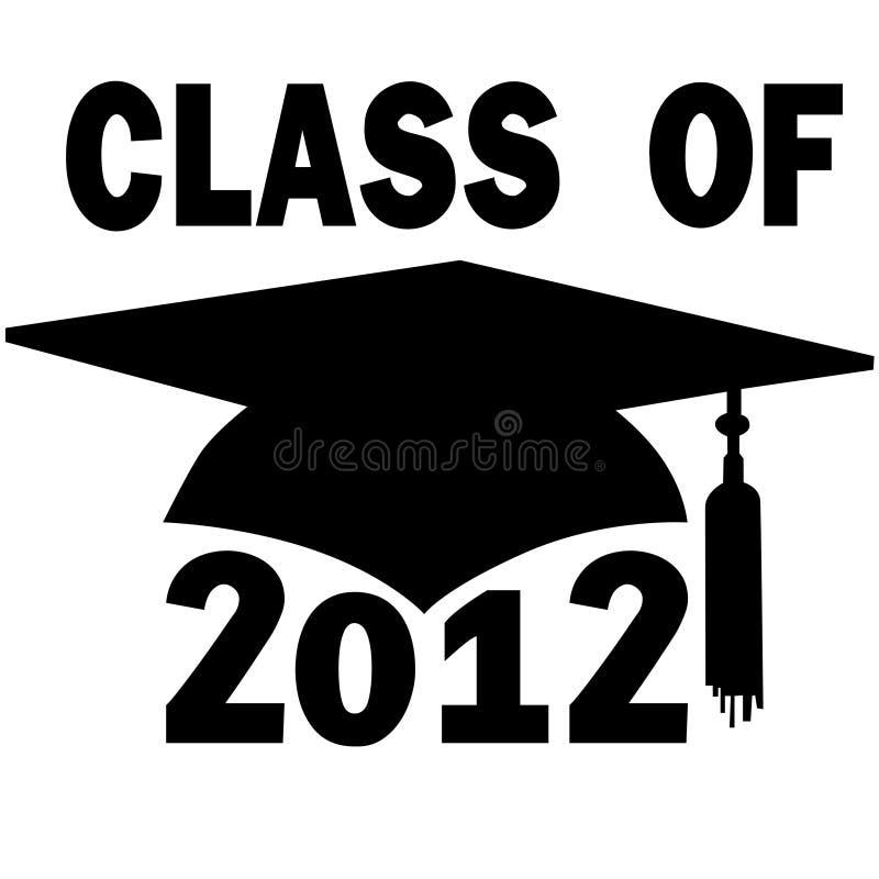 Classe do tampão 2012 da graduação de High School da faculdade ilustração stock