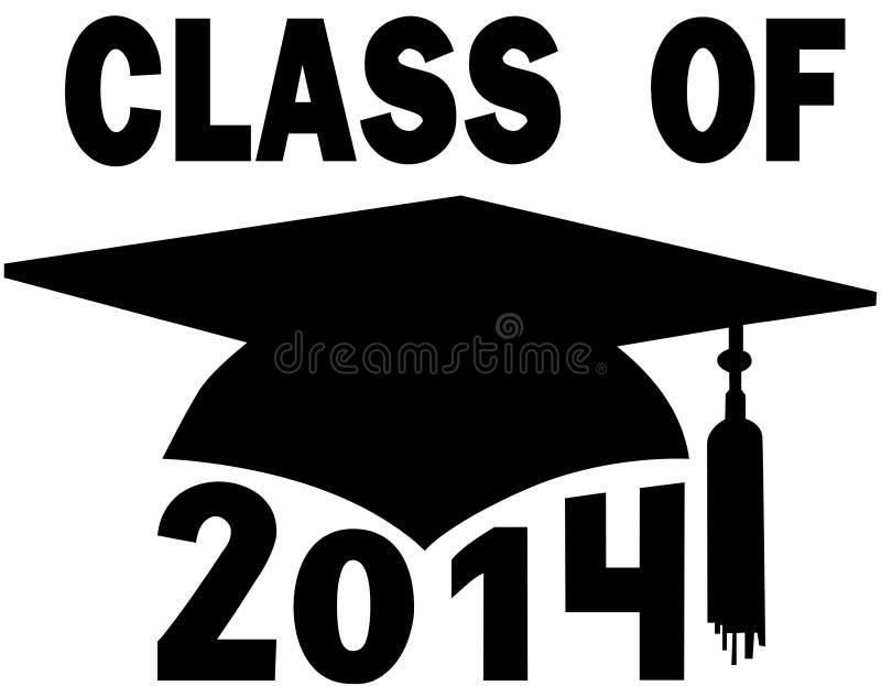 Classe do tampão 2014 da graduação de High School da faculdade ilustração do vetor