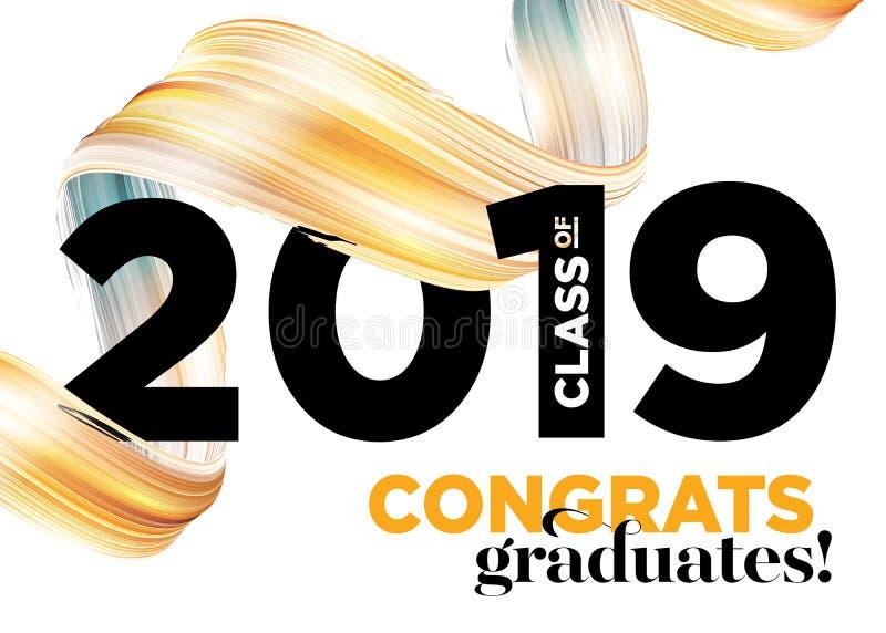 Classe dos graduados das felicitações do logotipo 2019 do vetor Molde do fundo da graduação Cumprimentando a bandeira para a grad ilustração do vetor