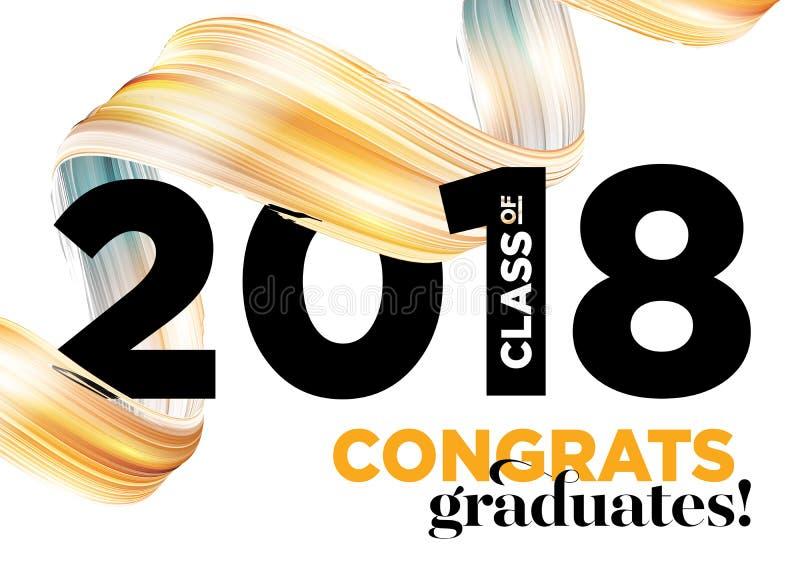 Classe dos graduados das felicitações 2018 do vetor Logo Design imagem de stock