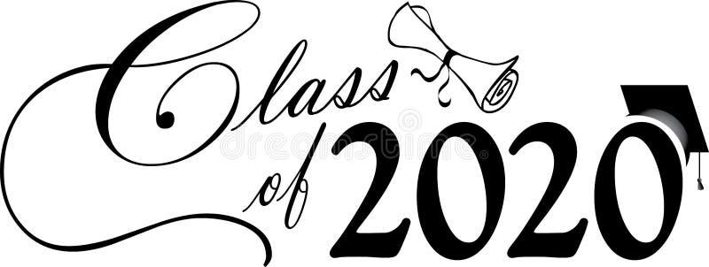 Classe du manuscrit 2020 avec le diplôme illustration libre de droits