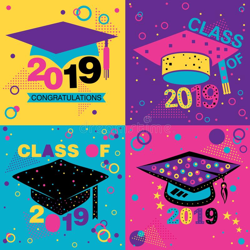 Classe quatre des conceptions 2019 d'affiche illustration stock