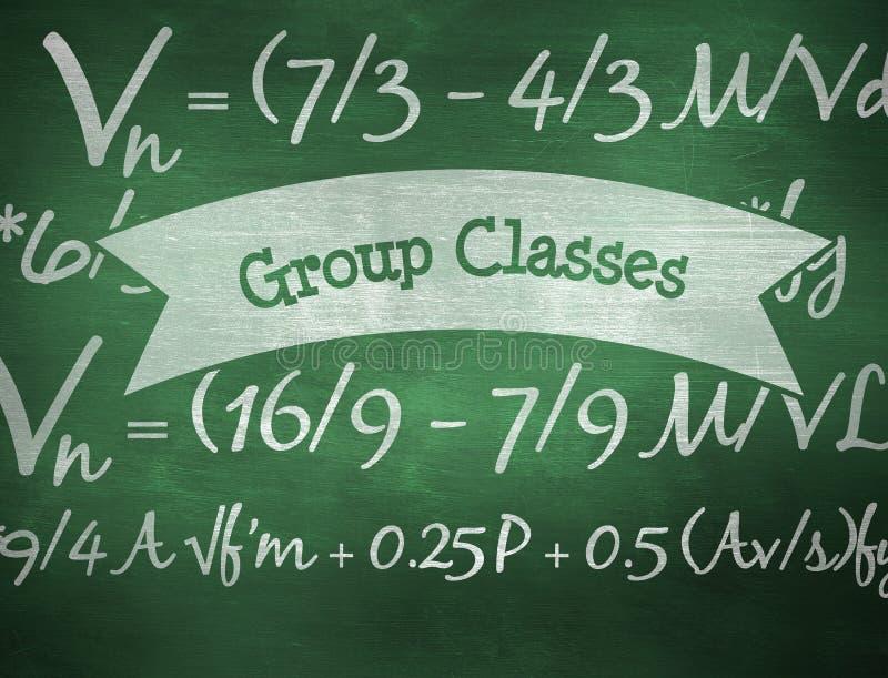 Classes do grupo contra o quadro verde ilustração stock