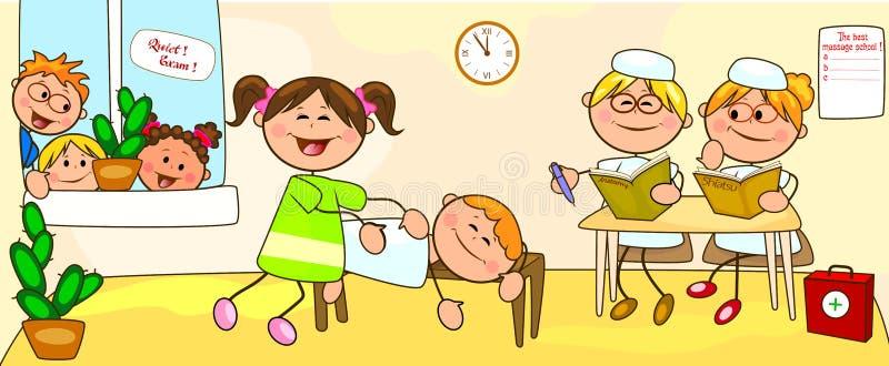 Classes na escola para a massagem ilustração royalty free