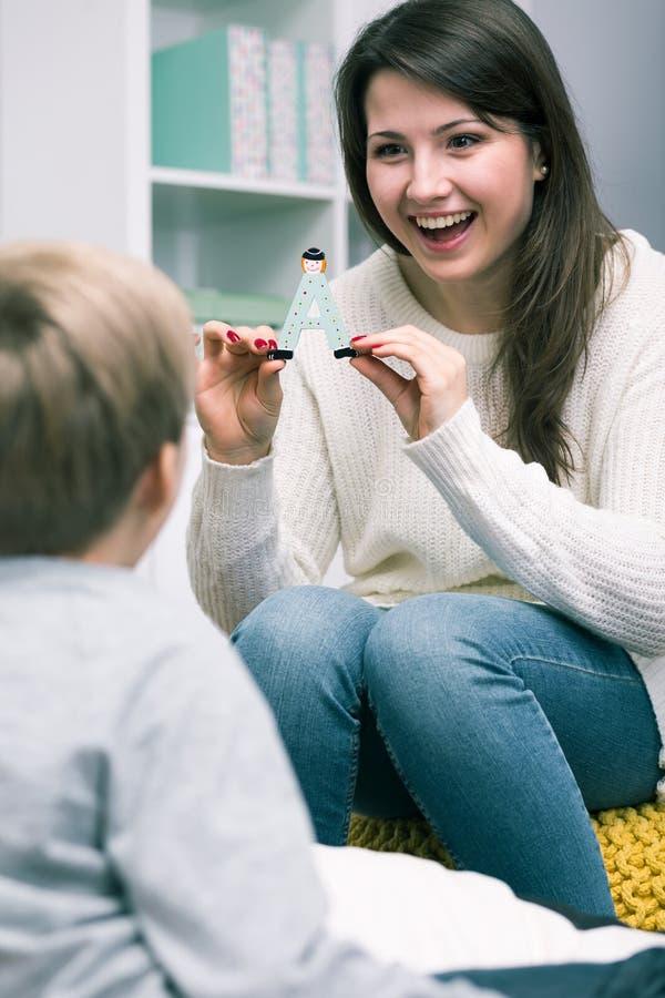 Classes with speech therapist stock image