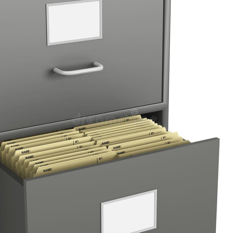 Classeur avec le tiroir ouvert et beaucoup de fichiers illustration de vecteur