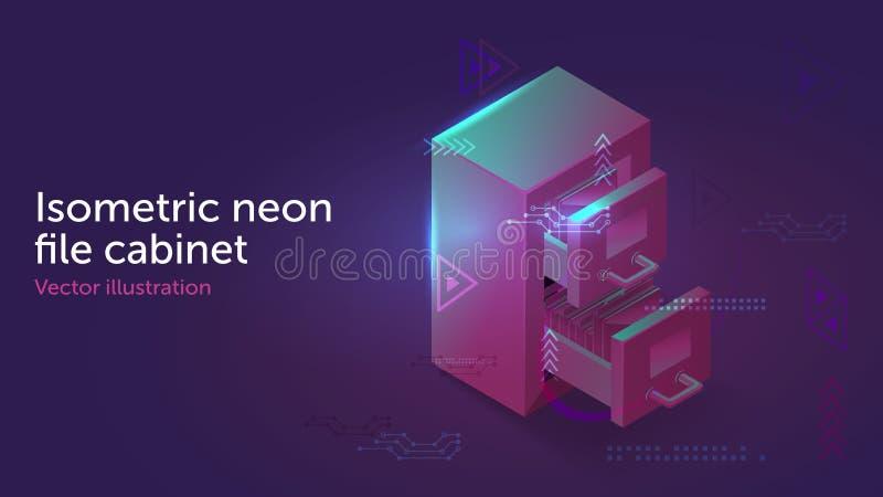 Classeur isométrique d'archives de lampe au néon illustration de vecteur