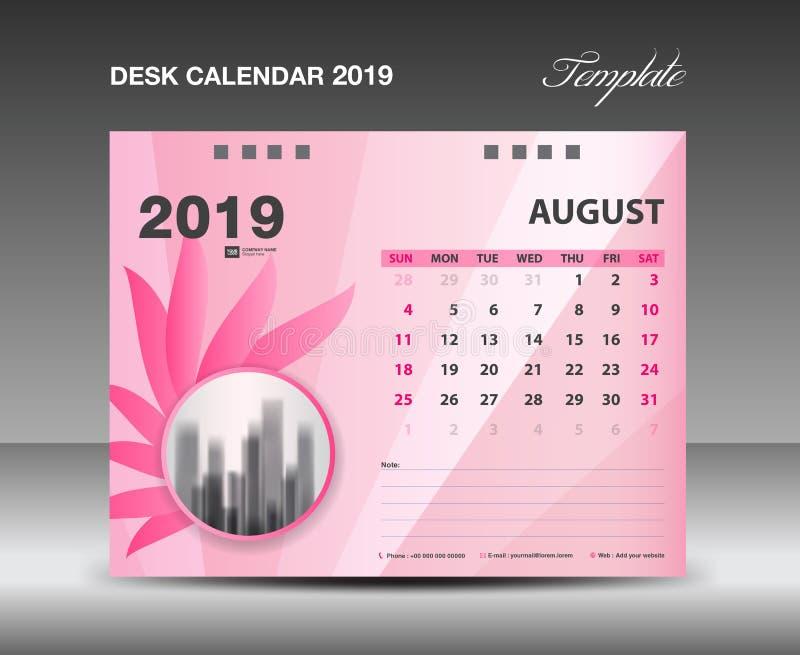 Classez 2019, AUGUST Month, conception de vecteur de calibre de calendrier de bureau, concept rose de fleur illustration libre de droits