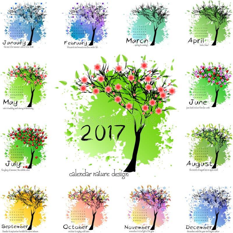 Classez la grille pendant 2017 années avec l'arbre abstrait illustration libre de droits