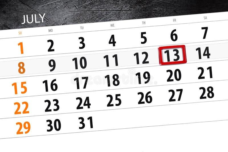 Classez le planificateur pour le mois, jour de date-butoir de la semaine, vendredi, le 13 juillet 2018 photo libre de droits