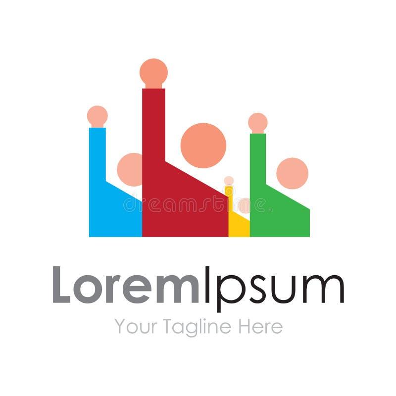 Classez les enfants soulevant le logo simple d'icône d'affaires de mains illustration stock