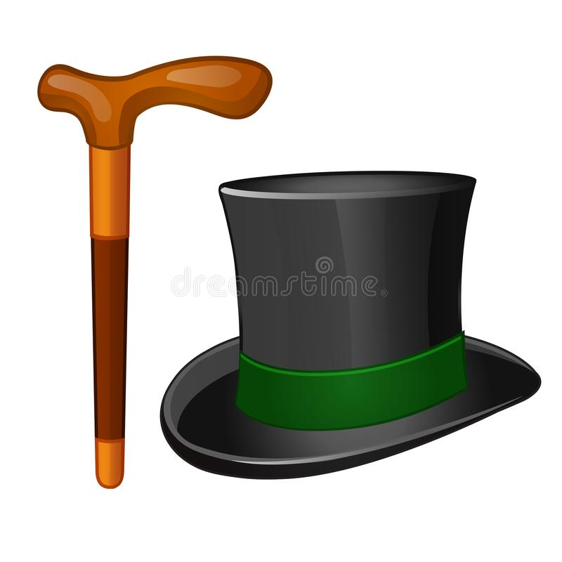 Classic accessories gentleman. Cylinder hat and walking stick isolated on white background. Vector illustration. Classic accessories gentleman. Cylinder hat and royalty free illustration