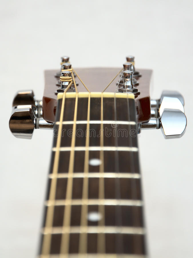 Classic Acoustic Guitar Headstock: Pegs, Keys Stock Image