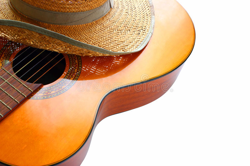 Classic acoustic guitar at weird and unusual perspective closeup. stock photos
