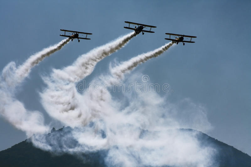 Classic airplanes on air show royalty free stock images
