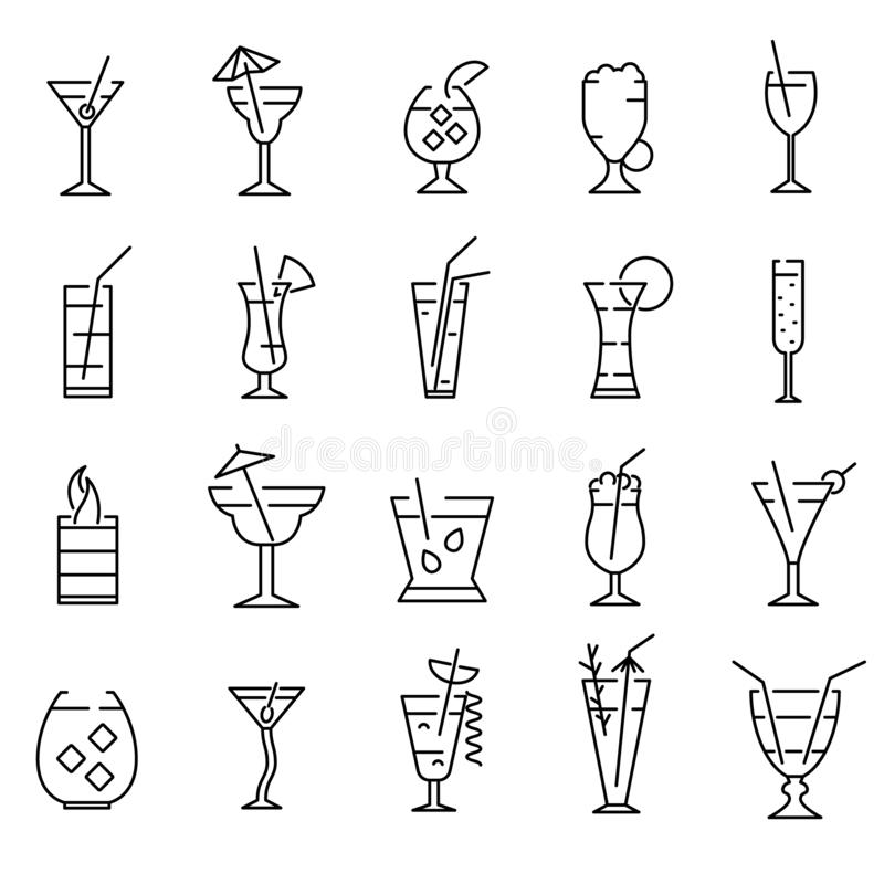 Classic Alcoholic Cocktails Signs Black Thin Line Icon Set. Vector. Classic Alcoholic Cocktails Signs Black Thin Line Icon Set Include of Mojito, Margarita and vector illustration
