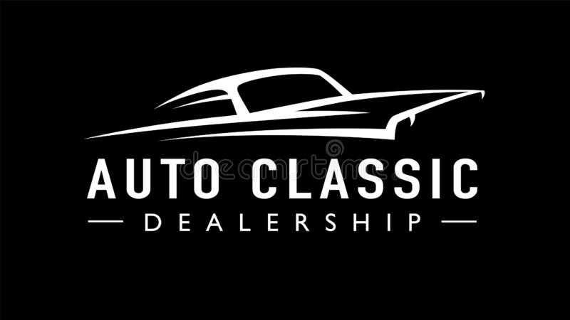 Classic American auto concept style sports muscle car logo silhouette. Classic American concept style sports muscle car dealership logo. Retro style V8 auto royalty free illustration