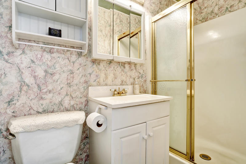Classic American bathroom interior with vanity cabinet and toilet. Northwest, USA stock photo