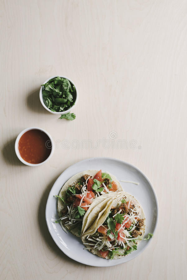 Classic American Beef Soft Tacos stock images