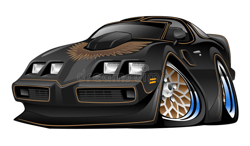 Classic American Black Muscle Car Cartoon Illustration royalty free illustration
