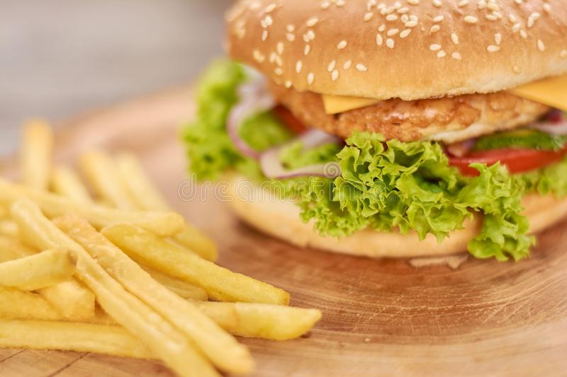 Classic american burger food. stock photography