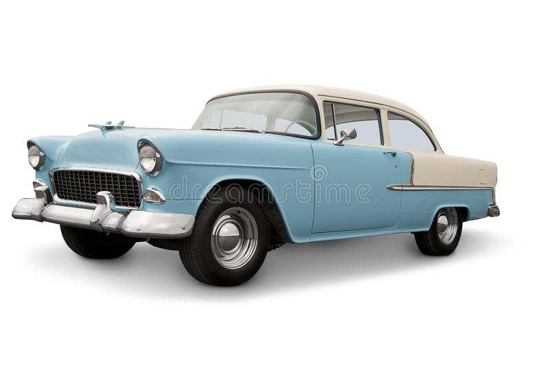 Classic American Car. 1955 Chevrolet Bel Air American Car. Clipping Path on vehicle. See my portfolio for more automotive images royalty free stock images