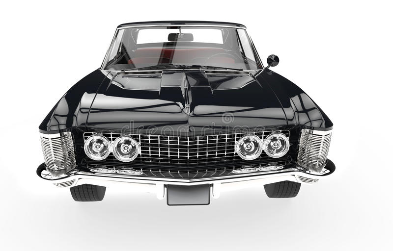 Vintage Automobile Front Center With One Headlight : Classic american car front view stock illustration