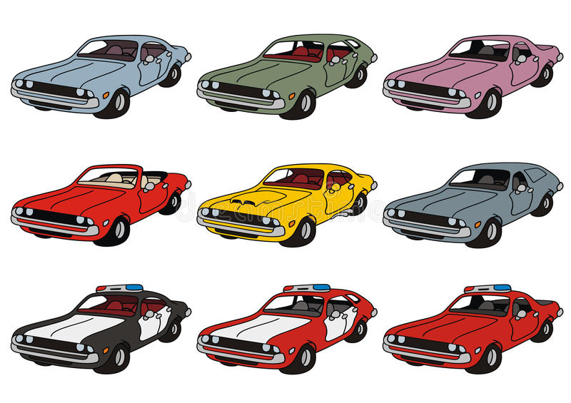 Classic american cars. Drawing of classic american cars vector illustration