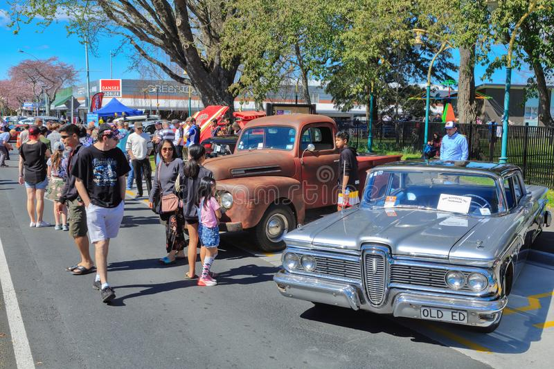 Classic American cars at an outdoor car show stock photos