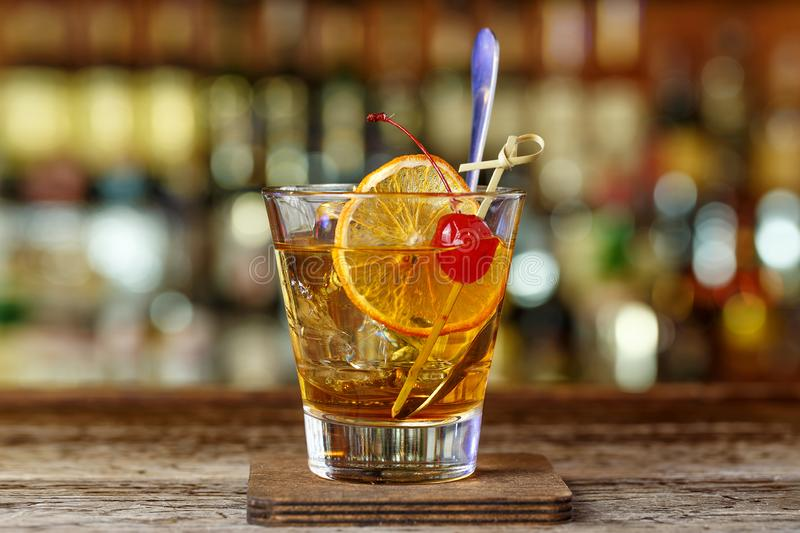 Classic, American cocktail, old-fashioned royalty free stock photography