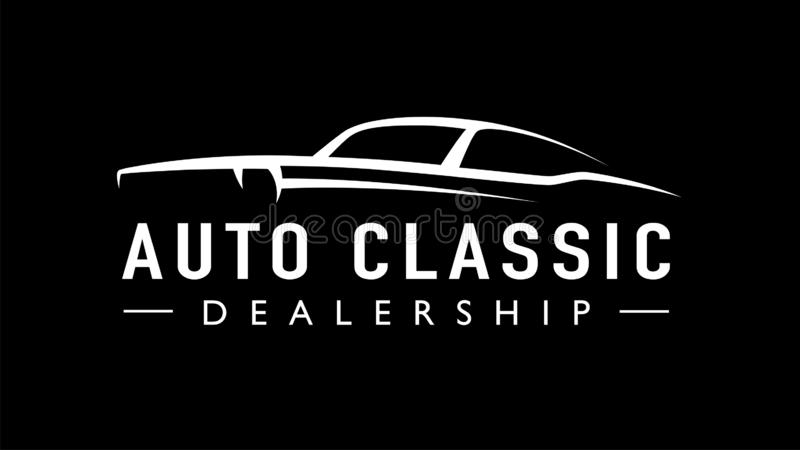 Classic American concept style sports muscle car auto logo silhouette stock illustration