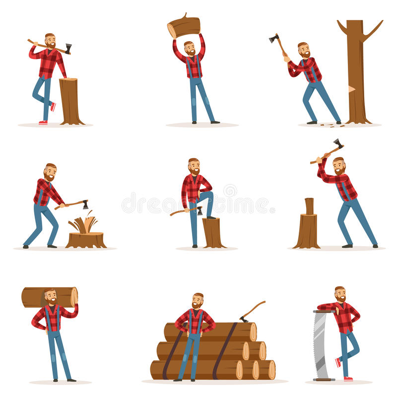 Free Classic American Lumberjack In Checkered Shirt Working Cutting And Chopping Wood With Cleaver And A Saw Royalty Free Stock Photo - 86305885