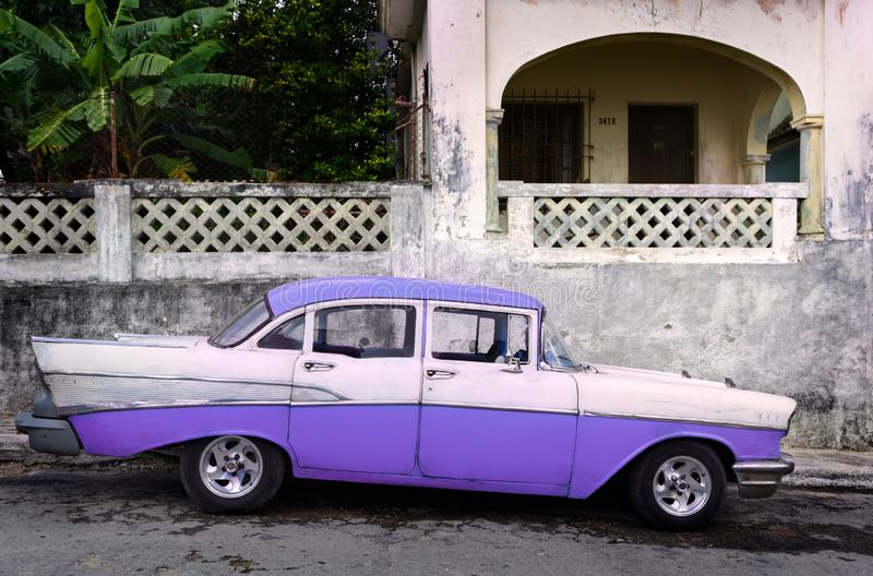Classic American Made Car Parked in Cuba stock photo