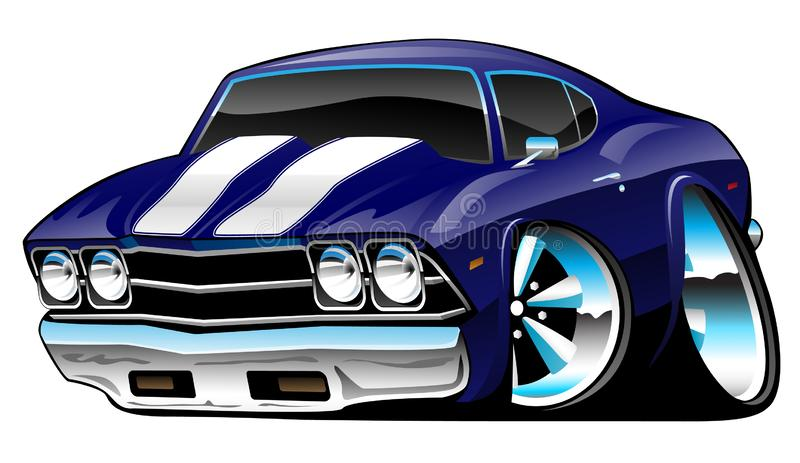 Classic American Muscle Car Cartoon, Deep Cobalt Blue, Vector Illustration royalty free illustration