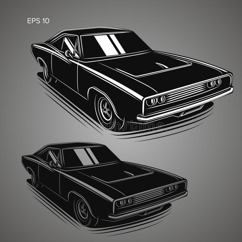 Classic american muscle car vector illustration royalty free illustration