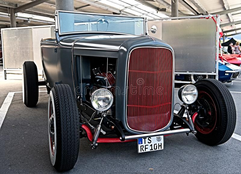 Luxury car. Classic american Oldtimer Hot Rod at Car show royalty free stock images