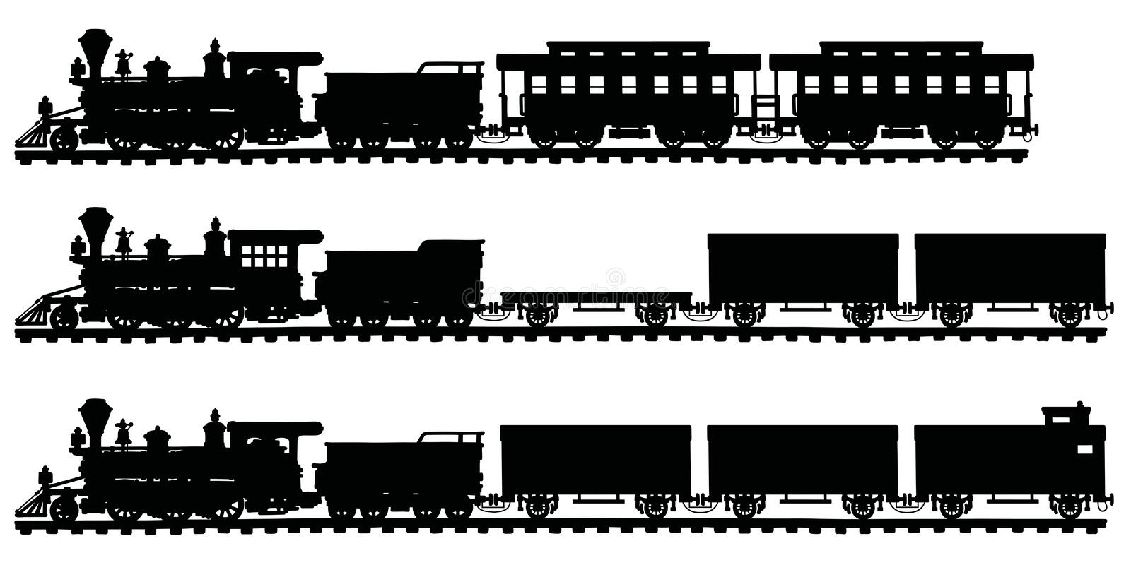 Classic american steam trains royalty free illustration