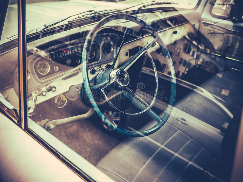 Classic American Truck Interior. Retro Style Interior And Dashboard Of A Vintage American Car Or Truck stock images