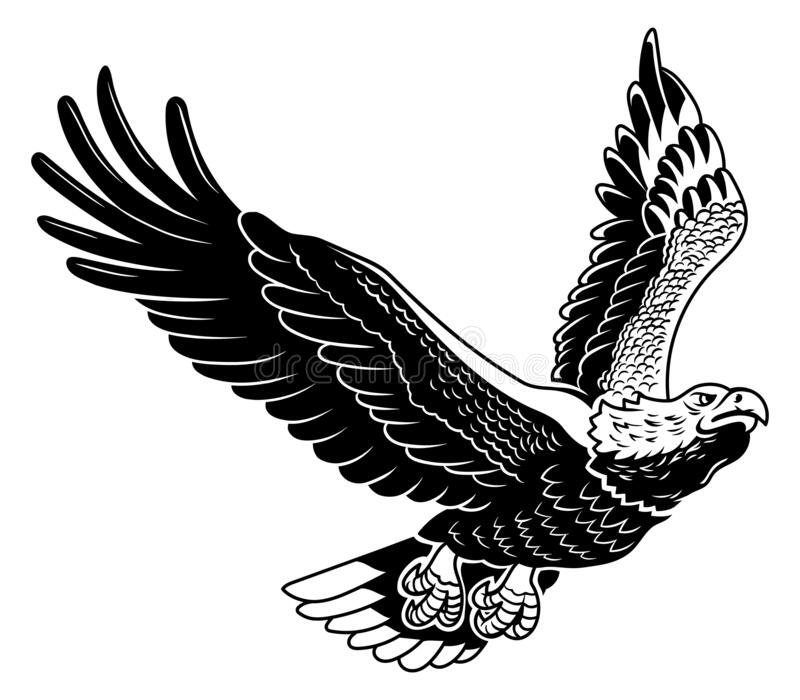 Classic American wild eagle emblem in the fly stock photos
