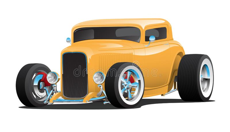 Classic American 32 Yellow Hotrod Car, chopped roof, whitewall tires, chrome rims, isolated vector illustration stock photography