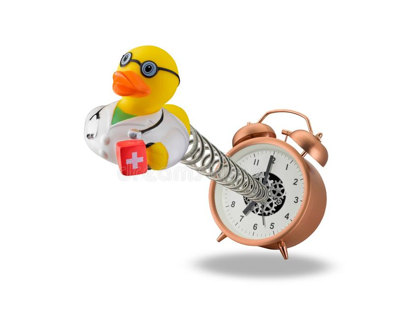 Wake up doctor duck stock image