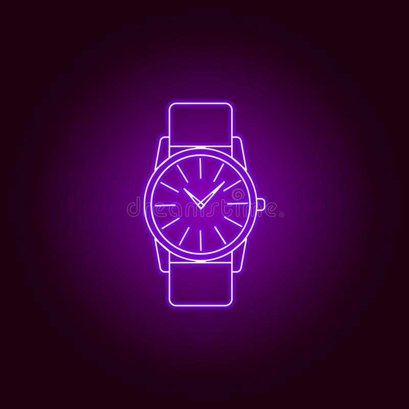 Classic Analog Men Wrist Watch line icon in neon style. Premium quality graphic design. Signs, symbols collection, simple icon for. Websites, web design, mobile vector illustration