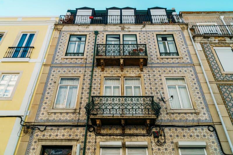 Classic Apartment Building Block Exterior Facade In Lisbon. Portugal stock image