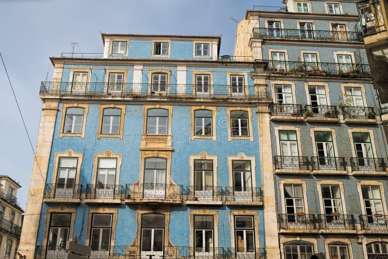 Classic apartment building exterior facade in Lisbon, Portugal.  stock photos