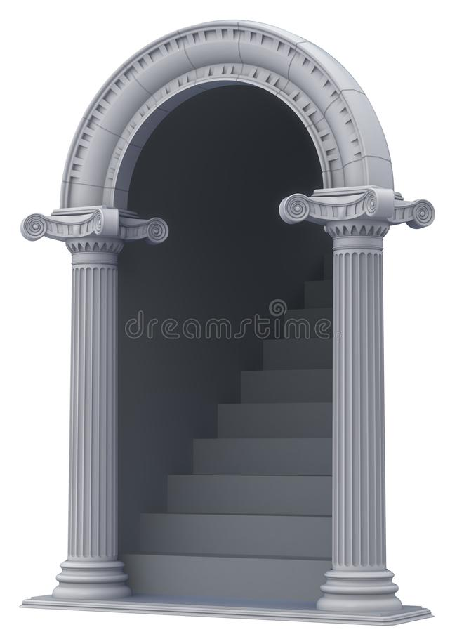 Classic arch with stairs. vector illustration